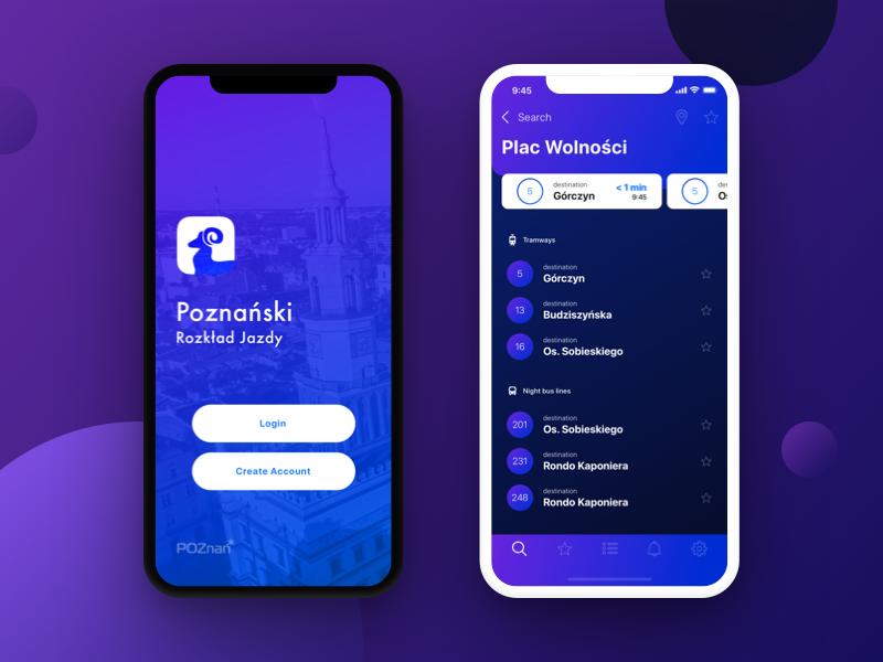 Urban timetable | iOS App login mockup mobile iphone x concept app poznan public transport design new gradient purple