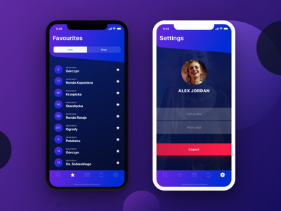 Urban timetable | iOS App purple mockup mobile design profile gradient favourites settings app ios iphone x