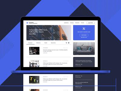 The housing cooperative   Website homepage website articles mockup desktop blue informations fresh public city