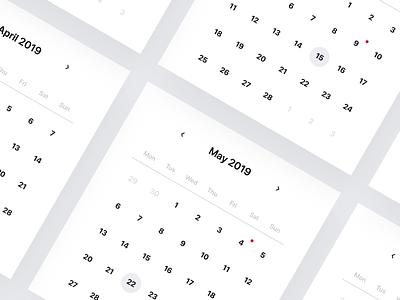 🗓 Responsive UI Calendar 2019 🗓 mobile vector 🗓 minimalist rwd resources sketch app free mockup website web app responsive 2019 calendar ux ui design