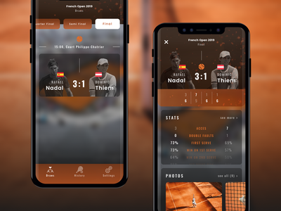 French Open App | Concept bottom bar navigation bar gallery stats ui design concept french open mockup mobile app