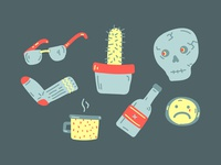 Skull, Cactus, Sock, Shades, Mug, Bottle, Sad Face