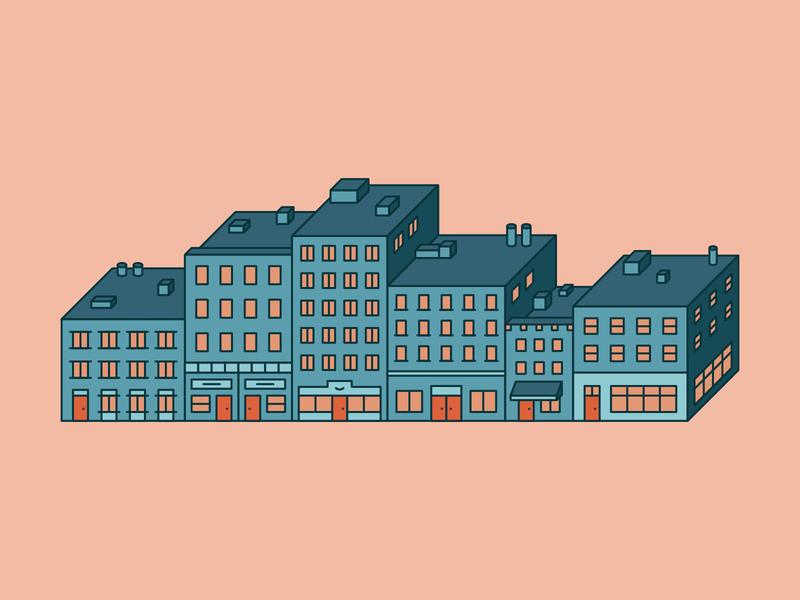 Row of Buildings linear buildings illustration