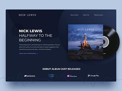 Nick Lewis Landing Page artist music landing page web design web design ux ui