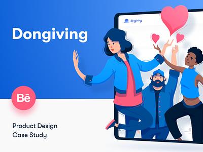 Dongiving • Case Study website illustration web web design design behance charity donating case study ux ui