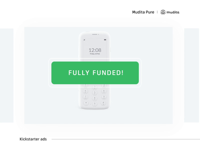 Mudita Kickstarter gifs typography funded crowdfunding launch product web after effects clean design campaign motion loop gif updates kickstarter ads