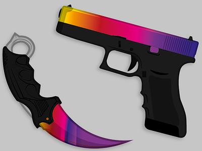 Glock & Karambit draw gun karambit glock fade vector