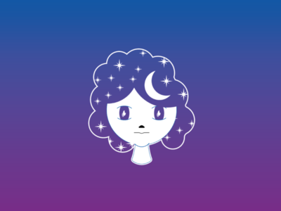 Girl 02 blue purple gradient night illustrator vector draw