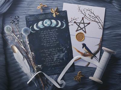 Mystical Postcards witch style painting postcard design mythology traditional art branding creative market watercolor illustration art
