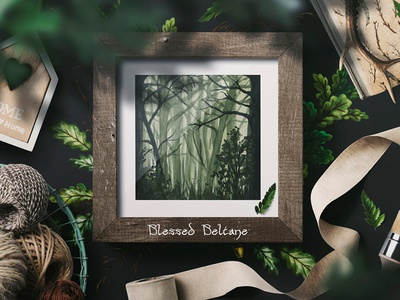 Mystical Forest darkart watercolor witch style mystical interior mythology forest art painting traditional art creative market illustration