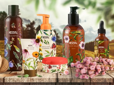 Cosmetic Packaging Design creative market art herbs watercolor plants illustration packaging cosmetic