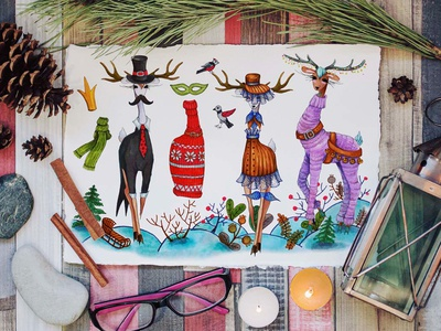 Christmas Deers creative market fashion traditional art sketch drawing new year illustration markers christmas art