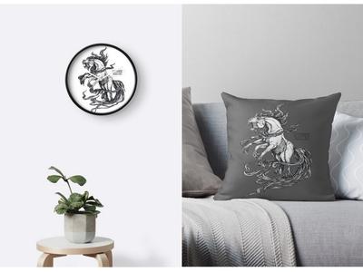 Sleipnir print scandinavian style mythology traditional art illustration drawing ink art sleipnir horse