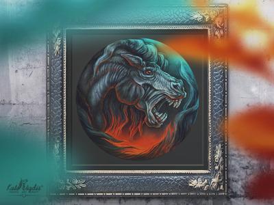 Wild Horse mythology darkart traditional art illustration pastel painting art horse