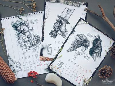 Scandinavian Calendar darkart drawing design mythology scandinavian style sleipnir art ink illustration calendar scandinavian