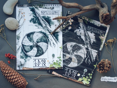 Scandinavian Calendar covers sleipnir scandinavian style scandinavian mythology ink illustration drawing design darkart calendar art