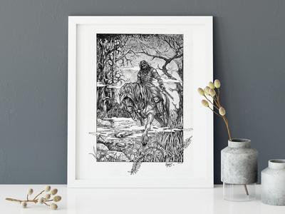 Sleepy Knight graphic art engraving traditional art illustration horse drawing art ink legend