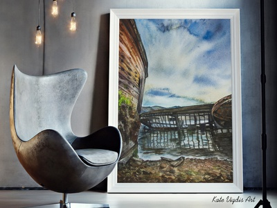 Northern Landscape north traditional art scandinavian style illustration art painting watercolor interior