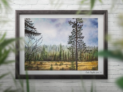 Northern Pines watercolor traditional art scandinavian style painting north interior illustration art