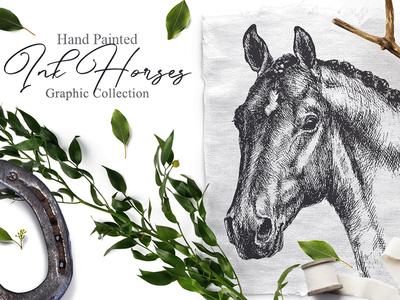 Ink Horses Graphic Art wedding sketch horse graphic art engraving typography branding vector logo design ink creative market scandinavian style drawing traditional art illustration art