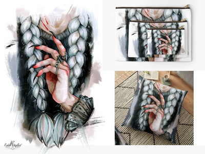 Witch Hand print vector sketch ink watercolor interior painting markers print mythology fashion darkart scandinavian style design drawing traditional art illustration art