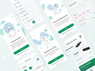 The Neurovine Application Design onboarding illustration brain activity heart rate health recovery concussion brain ui  ux ios application