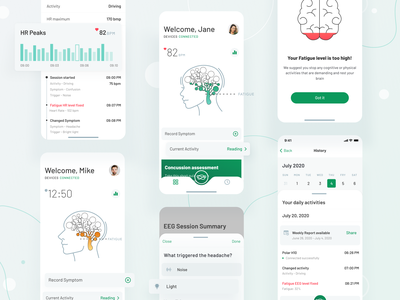 The Neurovine App figma diagnosis recovering medical brain activity fatigue health illustrations heart rate brain mobile app ui  ux