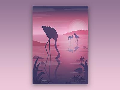 Pink Sunset illustration flat flamingos sunset