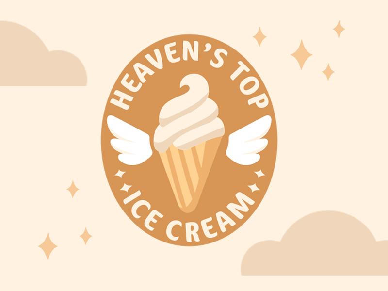 Heaven's Top Logo vanilla stars wings heaven icecream logo