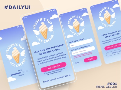 Daily UI 001 - Sign Up Screen for Ice Cream Brand ui daily ui 001 ice cream sign up daily ui