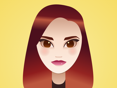 Selfie in Sketch / Vector redhead woman yellow vector portrait portrait illustration vector sketch app