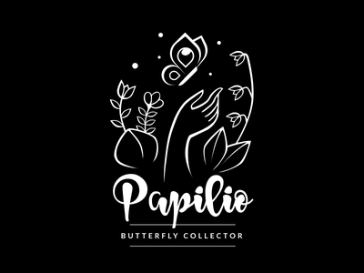 Papilio Logo irene geller illustration black  white hand garden butterfly logo design