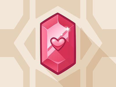 Red gem - game art game art vector art vector illustration pink heart jewel game illustration game asset game ui gem red irene geller