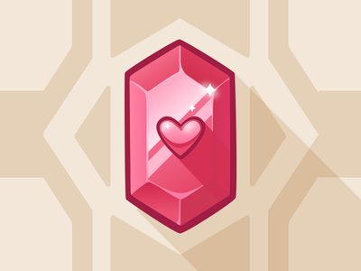 Red gem - game art game art vector art vector illustration pink heart jewel game illustration game asset game ui gem red irene geller