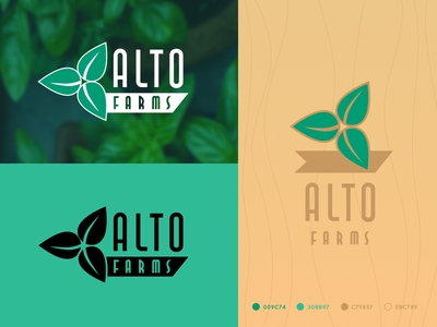 Alto Farms Logo symbol nature graphicdesign vector identity branding brown green leaf irene geller lettering wordmark logo