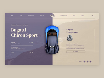 Bugatti Chiron Landing Page Interaction interaction design after effects user interface bugatti automobile car minimal website animation web icon ux typography branding vector ui logo design