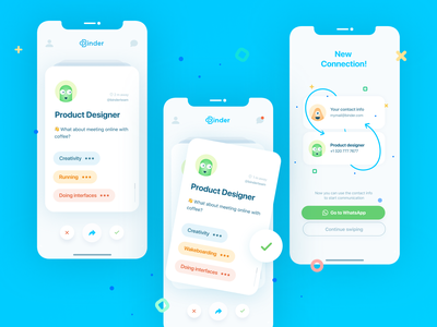 Binder App / UI businesscard tinder cv design networking mobile app design mobile app mobile uxui newapp app