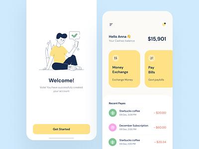 Virtual Wallet mobile app app concept bright ux  ui typogaphy illustration banking app bank app finance app banking wallet walletapp yellow clean ui uidesign uiux