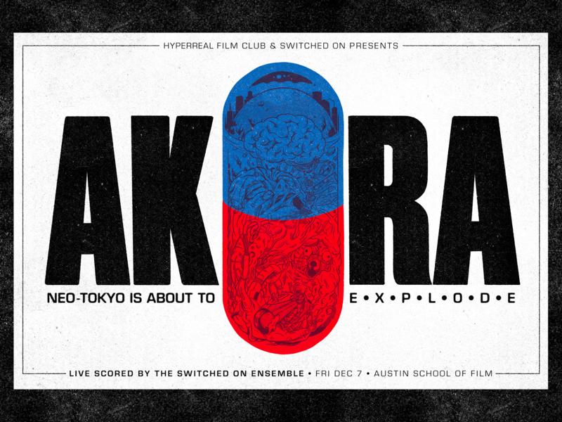 AKIRA Event Poster austin texas gig posters illustration texture riso print movie poster stencil print risograph