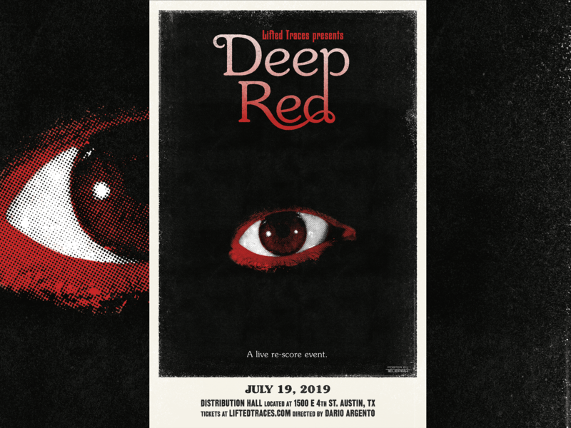 DEEP RED Poster for Lifted Traces horror 70s design italian grit texture halftone design film posters 1970s vintage