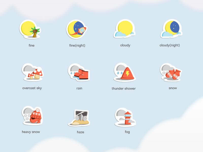 Weather icons weather fine cloudy rain snow haze fog