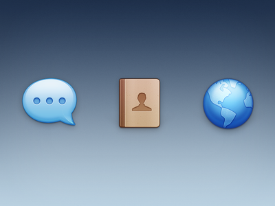 Three icons icon message contact browser earth zuui classic