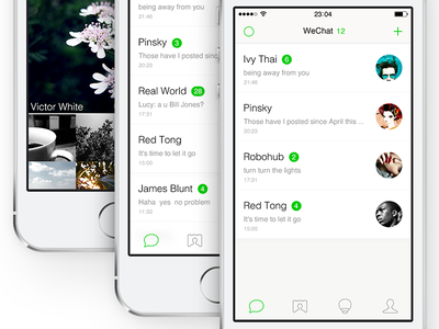 WeChat Redesign for iOS7 wechat redesign app ios7 ui zuui weixin flat chat list simple