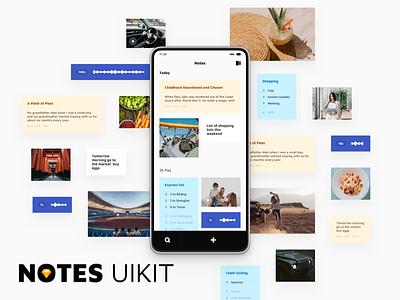 Notes UI Kit mobile design app card ui8 notes uikits uikit