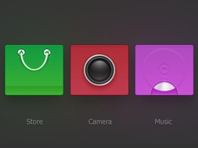 icon icon mobile store camera music bag three android ui zuui