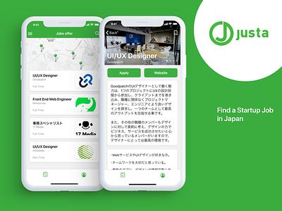 Justa mobile app concept mobile app iphonex startup japan ios job list