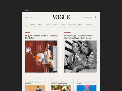 Vogue wear news clean vogue webdesign art homepage typography interface redesign concept journal magazine fashion landing page website web ux ui design