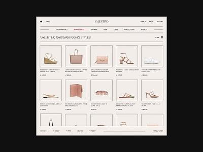 Valentino womans woman shoes clothings minimalism clean online store online shop typography fashion interaction shop minimal ux ui design ui  ux webdesign website web