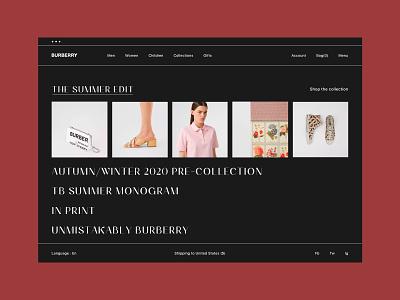 Burberry stores online shop visual art direction interface men women typogaphy landing page interaction shop website minimal web ux ui design burberry store fashion