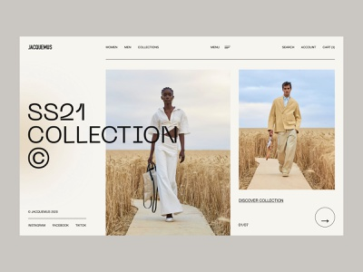 Jacquemus - Interaction blog e-commerce store shop collection brand fashion brand jaqcuemus grid clean typography fashion landing page interaction website web minimal design ux ui